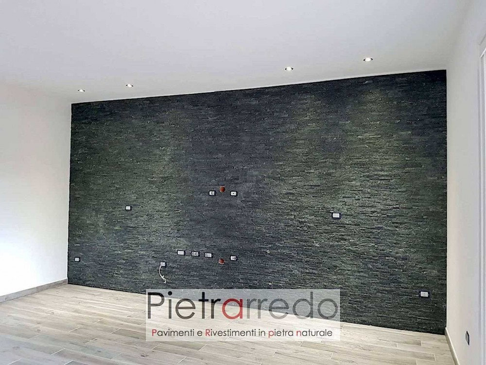 Rivestimento murale in sasso pietra quarzite nera brillante offerta costo pietrarredo milano pannelli