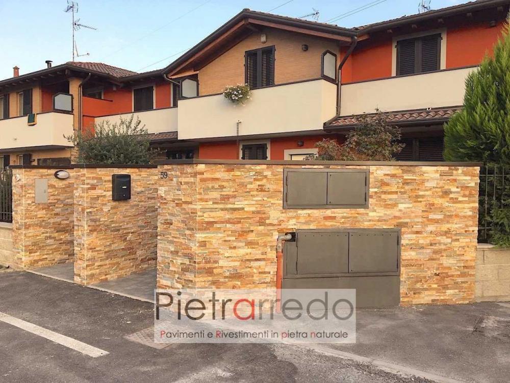 cancello e conta rivestita con pietra naturale listelli quarzite rossa pietrarredo milano muro prezzo