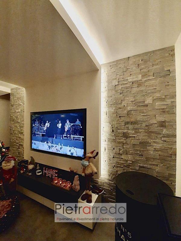 decorazione parete soggiorno pietra vera naturale quarzite grigia elegante bella wall stone panel pietrarredo milano costo price