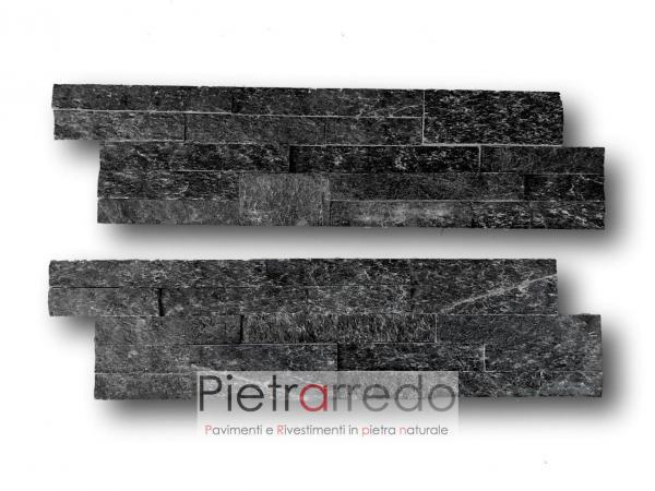 listelli con quadrati strisce rivestimento sasso pietrarredo milano black shine quarzite nera costi