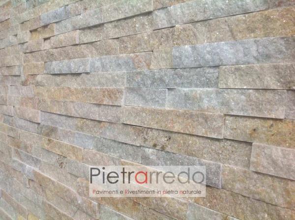 muro-rivestito-pietra-geo-naturale-quarzite-gialla-brillantinata-luccicante-prezzo-pietrarredo-milano