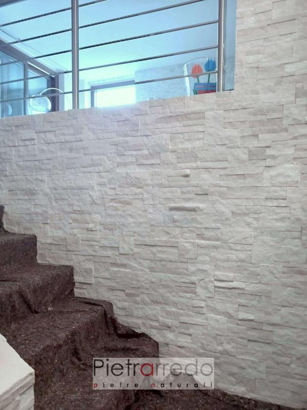 offerta parete in pietra bianca brillantinata quarzite bianca scozzese pietraredo milano