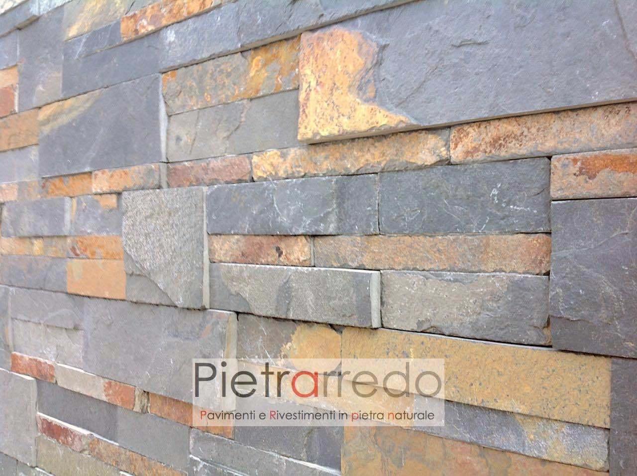 Rivestimento pietra ardesia multicolor scozzese 50 offerta 39 90 mq - Parete pietra ricostruita ...