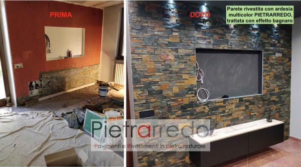 parete sala con rivestimento in pietra ardesia multicolor pietrarredo pietrarredo milano costo prezzo televisore