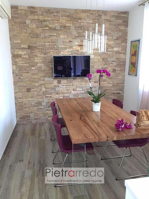 parete soggiorno con tavolo legno rivestimento in pietra arenaria scozzese pietrarredo milano beige prezzo