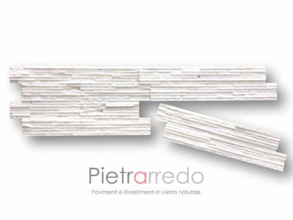 prezzo-rivestimento-quarzite-bianca-brillantinata-pietrarredo-milano-slim-listelli-sottili-tranciati