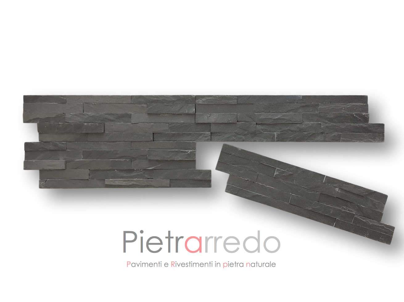Rivestimenti Bagno In Pietra Ardesia : Rivestimento pietra ardesia nera offerta u ac mq