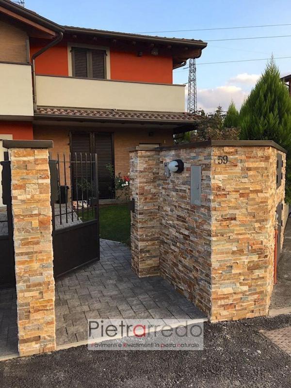 rivestimento cinta in pietra naturale quarzite rossa facciata prezzi pietrarredo milano