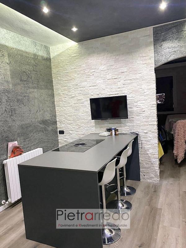 rivestimento in pietra naturale quarzite bianca scozzese brillantinata per parete white shine panel stone price pietrarredo milano