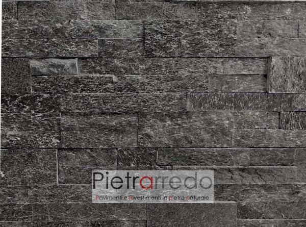 rivestimento in pietra nera quarzite brillante prima scelta sasso cladding blach prezzo pietrarredo milano