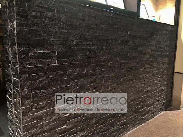 rivestimento-muretto-pietra-quarzite-nera-brillantinata-black-pietrarredo-stone-panel-shine-price-prezzo
