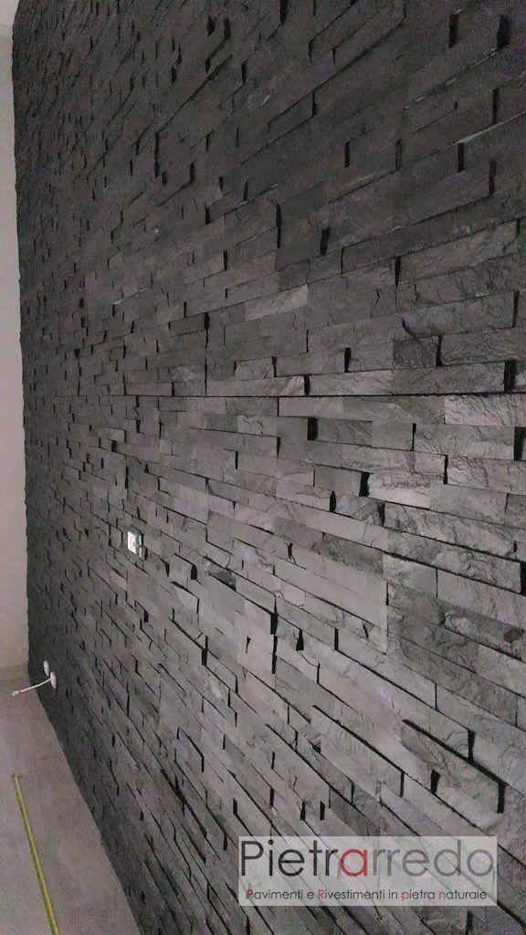 Rivestimento pietra ardesia nera offerta 50 42 90 mq - Rivestimento muro interno ...