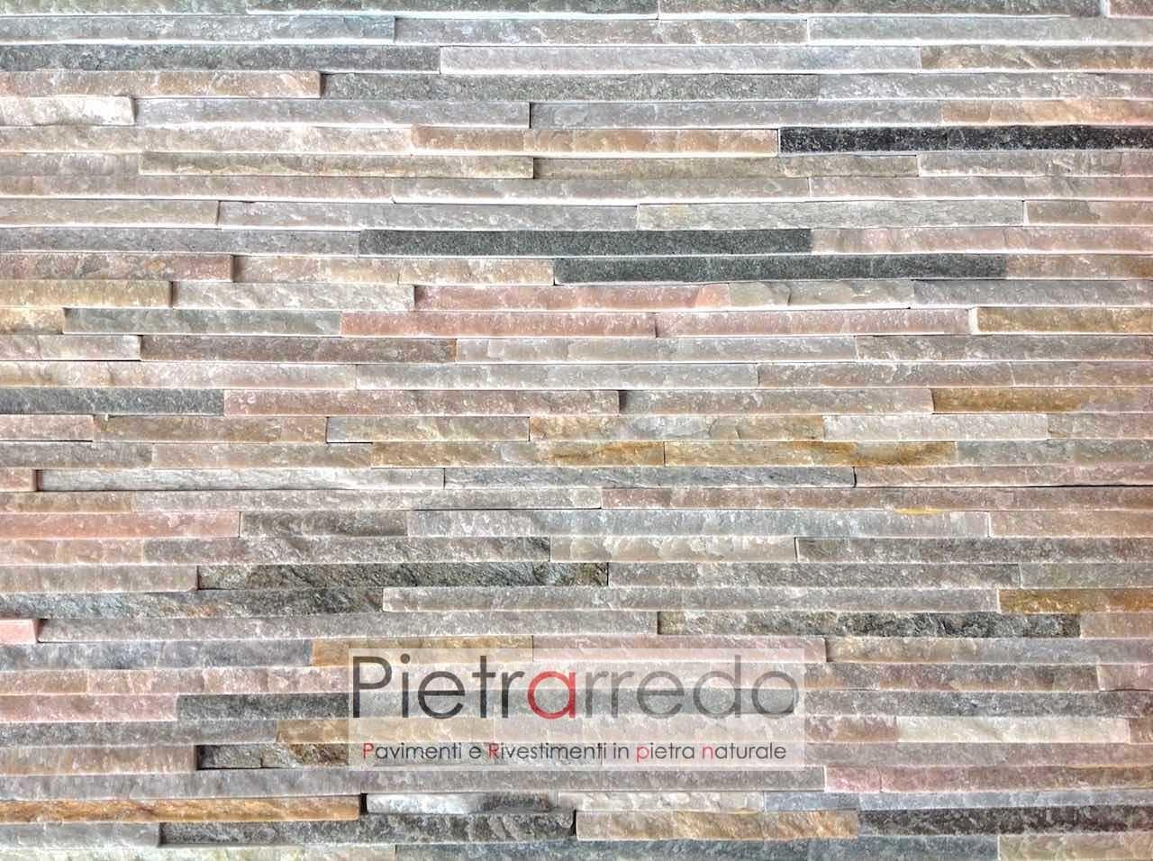 Rivestimento pietra quarzite mista slim 50 costo 62 mq for Placchette decorative bricoman