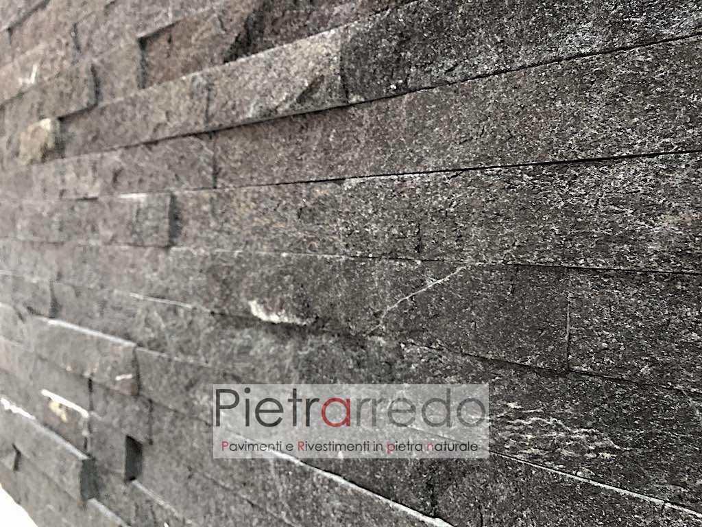 """Rivestimenti In Ardesia Nera rivestimento in pietra """" quarzite nera 15cm x 55cm"""""""
