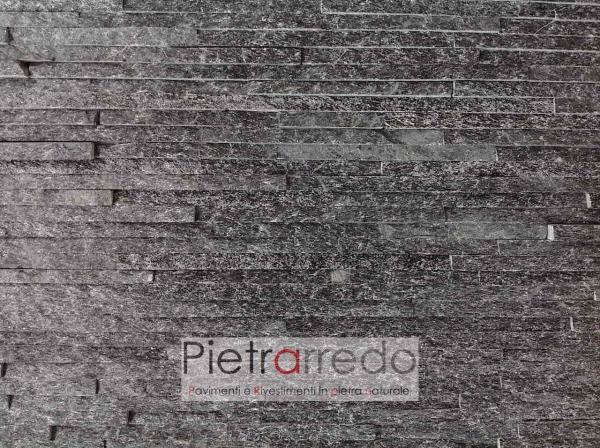 rivestimento-pietra-quarzite-nera-slim-prezzi-costo-metro-quadro-listelli-spaccatello-muretto-elegante-brillante-luccicante-pietrarredo-milano