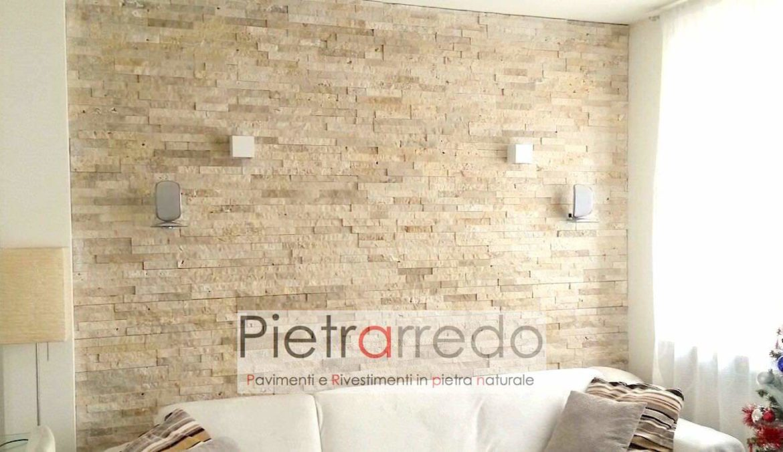 Rivestimento pietra travertino soggiorno parete offerte - Prezzi pietre da rivestimento interno ...