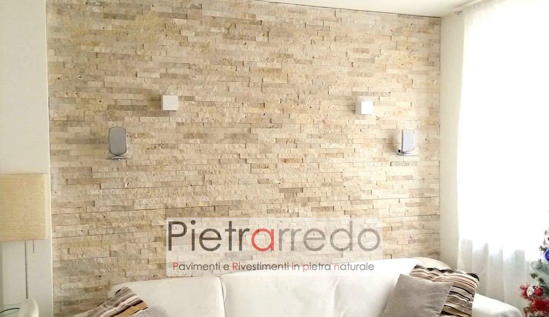 Rivestimento in pietra travertino 50 offerta 66 mq - Pietra parete soggiorno ...