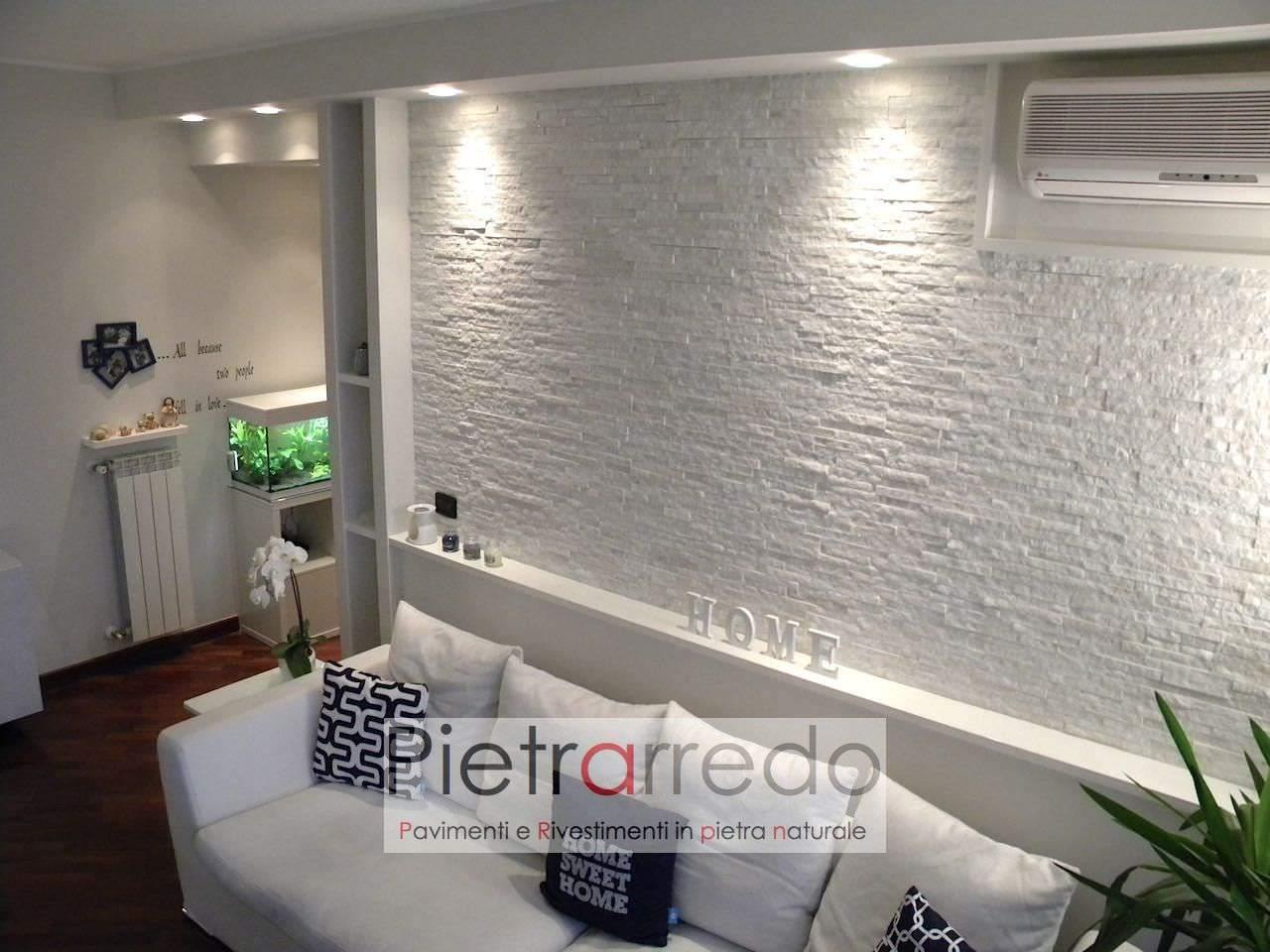 Rivestimento pietra quarzite bianca 50 43 metro quadro - Listelli decorativi per bagno ...