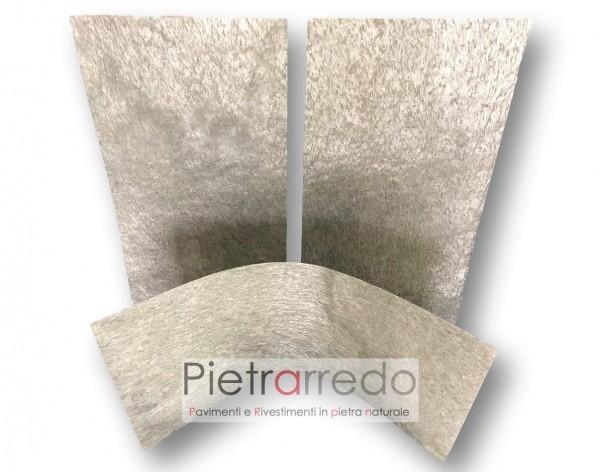 Foglio flessibili silver rivestimento in pietra flexstone per muri e facciate camini interni esterni prezzi costi pietrarredo milano