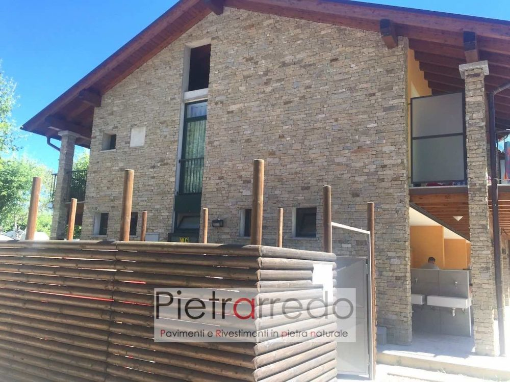 Rivestimento facciata casa in pietra vera scaglia granito beige prezzi offerta pietrarredo milano