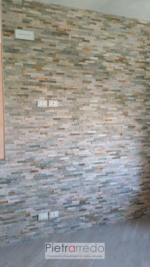Rivestimento pannelli in pietra quarzite mista pietrarredo milano prezzo scaglie spaccatelli euro