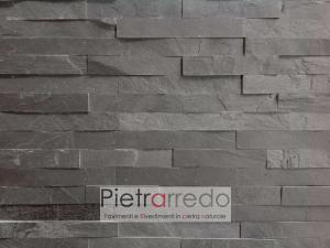 Rivestimento-pietra-ardesia-nera-black-slate-spaccatello-prezzo-costo-pietrarredo-milano-stone-panel-price-strips-slate
