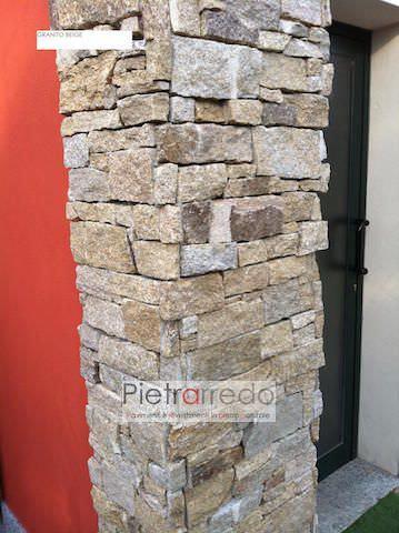 Rivestimento pilastre e colonna in pietra granito beige casa e design
