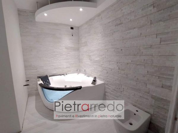 bagno in pietra quarzite bianca brillantinata pietrarredo milano prezzo rivestiento elegante