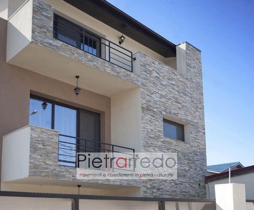 facciata villa balconi rivestimento quarzite mista pietrarredo costi prezzi listelli decorativi