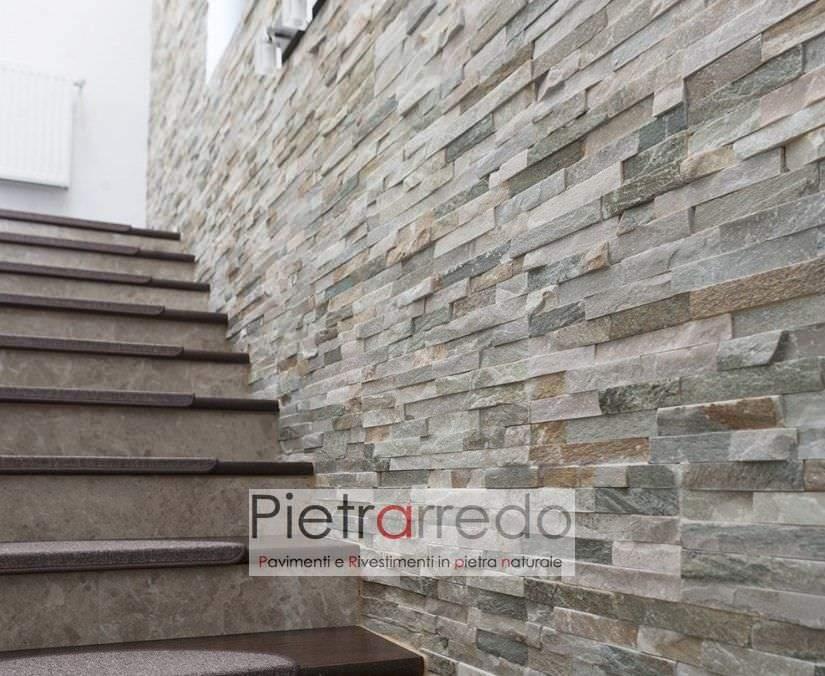lato scala interna rivestimento pietra liste listelli placca spaccatello quarzite scaglia pietrarredo milano