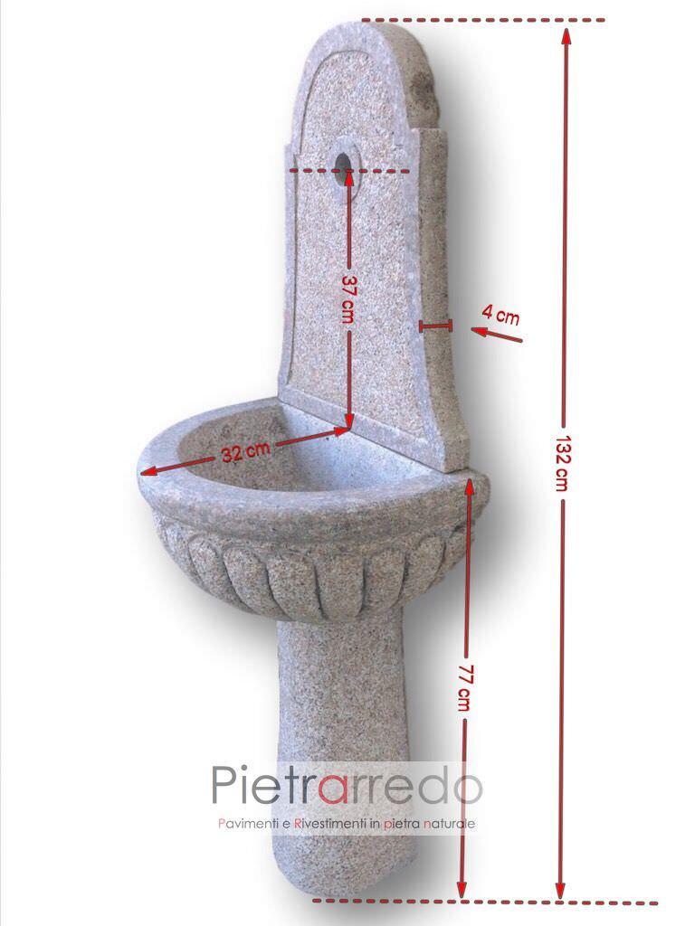 Fontana in granito rosa fatta a mano bocciardata offerta 305 - Giardino di giada milano ...