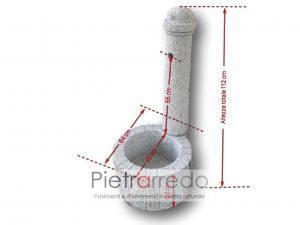 misure fontanella da terra in granito e pietra bocciardata erica pietrarredo milano