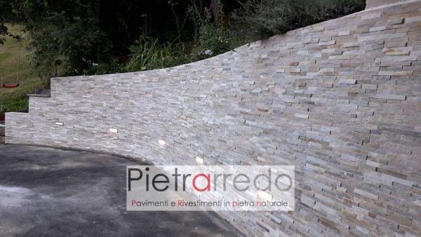 muro contenimento in cemento armato rivestito con pietra quarzite mista pietrarredo milano costi prezzo posa