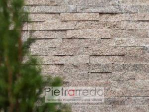 muro-in-pietra-naturale-quarzitre-dorè-parete-listelli-beige-marrone-brillante-costi-pietrarredo-milano