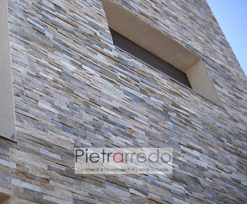 parete facciata casa rivestimento pietra vera quarzite listelli pietrarredo milano costi colore misto