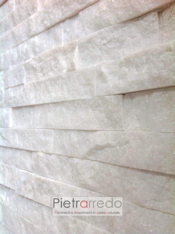 parete-rivestita-pietra-quarzite-bianca-spaccatello-listelli-scaglie-brillantinate-stone-cladding-white-shine-price