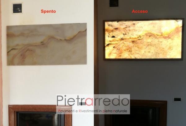 quadro in pietra foglio flessibile stone veneer traslucido pietraredo milano prezzo onice retroilluminato