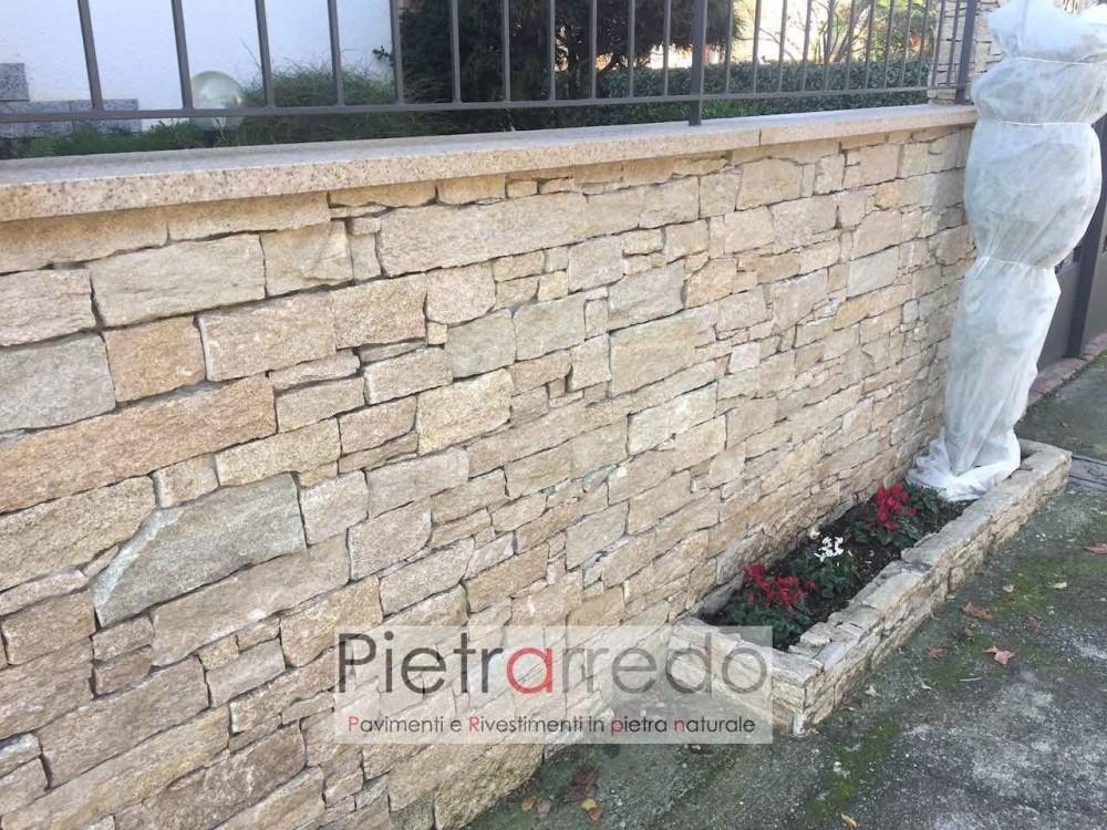 rivestimento cinta e muro in pietra granito beige a liste spaccate pietra vera scaglie sottile muro secco