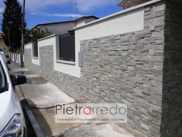 rivestimento cinta quarzite grigia scozzese pietrarredo milano muro