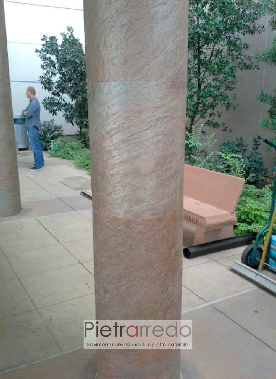 rivestimento pilatro tondo in pietra costi prezzi copper pietrarredo milano