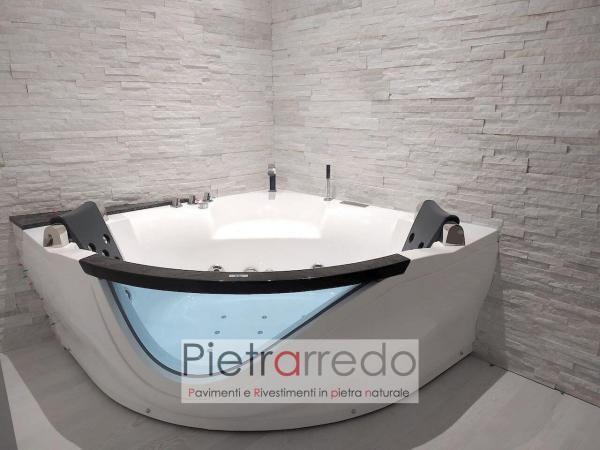rivestimento spa centro benessere bagno pietra naturale quarzite bianca luccicante pietrarredo milano prezzo