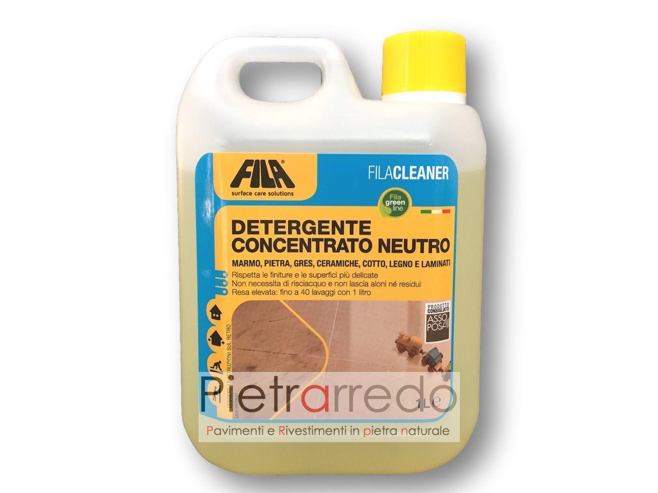 """Detergente Per Cotto Esterno trattamento detergente concentrato neutro per pietra """"fila cleaner"""" 1 litro"""