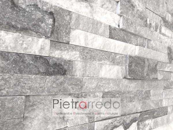 costo e prezzo quarzite ghiaccio bianca grigia brillante listello offerta pietrarredo cloudy grey stone milano cladding white