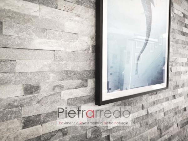 elegante rivestimento in pietra naturale quarzite ghiaccio pietrarredo milano costo prezzo listelli stone panel bianca grigia bella pietrarredo