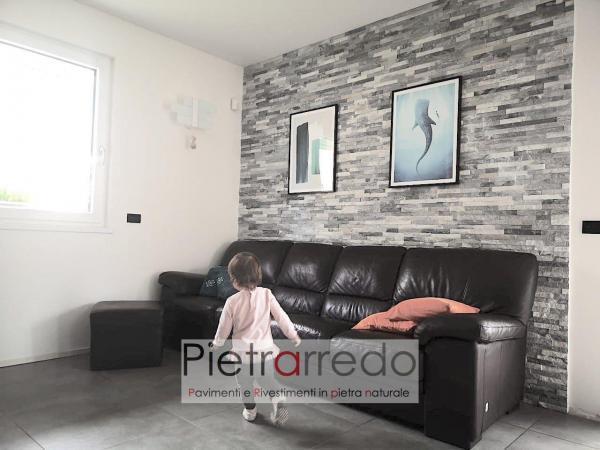offerta prezzo rivestimento in pietra naturale quarzite ghiaccio grigio bianco brillante shine stone panel pietrarredo milano