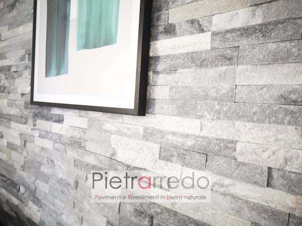 rivestimento in pietra naturale quarzite ghiaccio pietrarredo milano grigia brillantinata luccicante costi prezzo