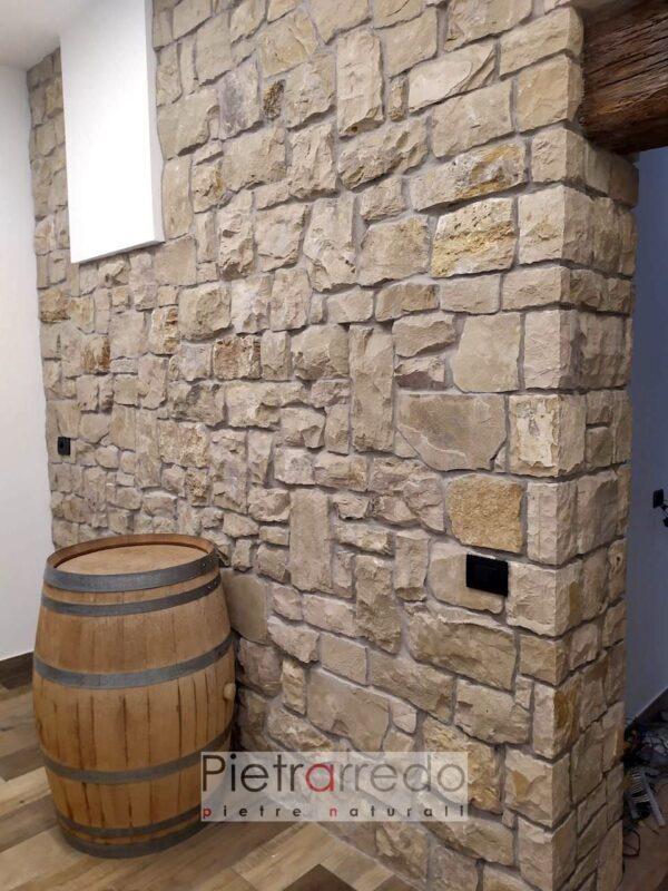 rivestimento in pietra rustica grezza marrone beige credaro grezza prezzo pietrarredo milano