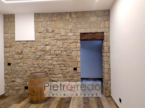 rivestimento parete grezza rustica cascina con sasso naturale credaro pietrarredo milano costo