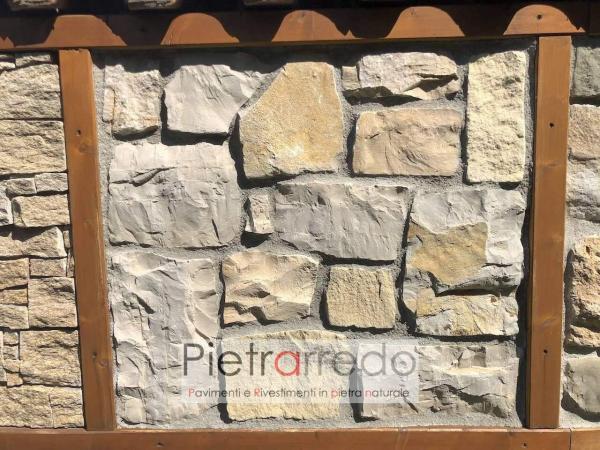 rivestimento rustico in pietra beige marrone credaro prezzo pietrarredo milano parete placche decorative facciata