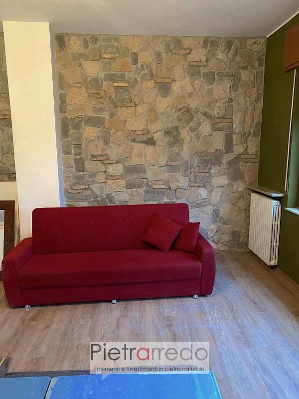 rivestimento muro soggiorno casa interno con pietra naturale misto contadino pietrarrdo milano costo stone cladding price offert